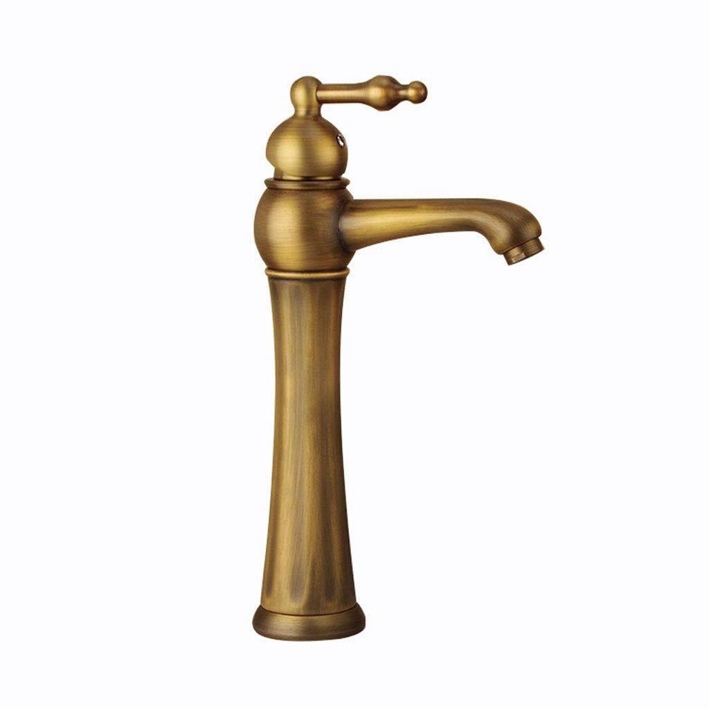 LIXDE Bathroom Faucet, Retro Style Single Hole Copper Hot and Cold Sink Brushed