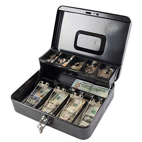 Kyodoled Large Cash Box with Money Tray and Lock, Metal Money Box Safe, Cash Register,5 Compartments Cantilever Tray & 4 Spring-Loaded Clips for Bills,11.81