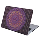 HDE Case for MacBook Air 13 Case Mandala Print Designer Plastic Snap On Case Fits Models A1369/A1466 (Purple Orange)