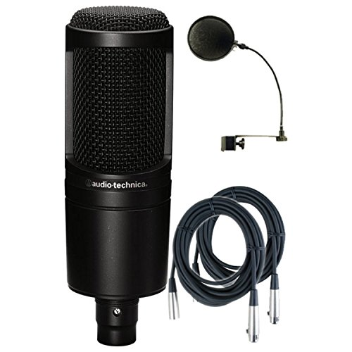 Audio-Technica AT2020 Cardioid Condenser Studio Microphone w/Pop Filter and (2) 20' Mic Cables (Audio Technica At2020 Studio Condenser)