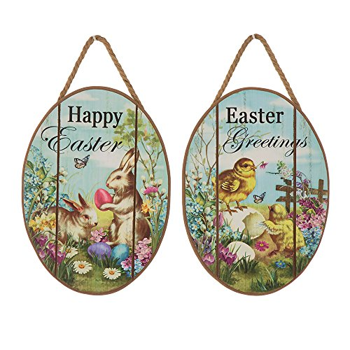 Glitzhome Handcrafted Wooden Egg Shaped Chick Bunny Wall Hanging Signs, Set Of 2