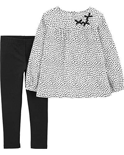 (Carter's Girls' 2-Piece Top and Legging Sets (Black Polka Dot Hearts, 5T))