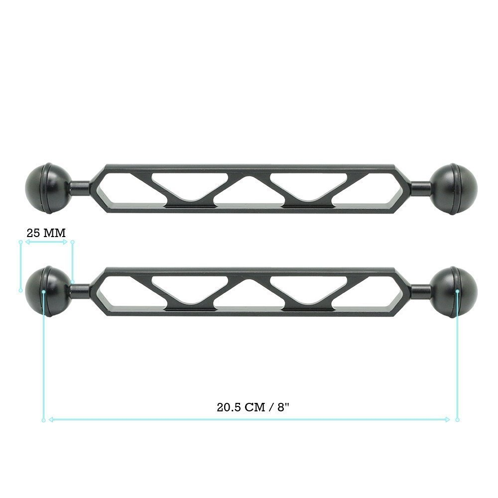 8'' / 20.5cm Double 1'' Ball Full aluminum Arm Ver. X for connecting strobe/video light to underwater tray/handle ( 2 PCS )