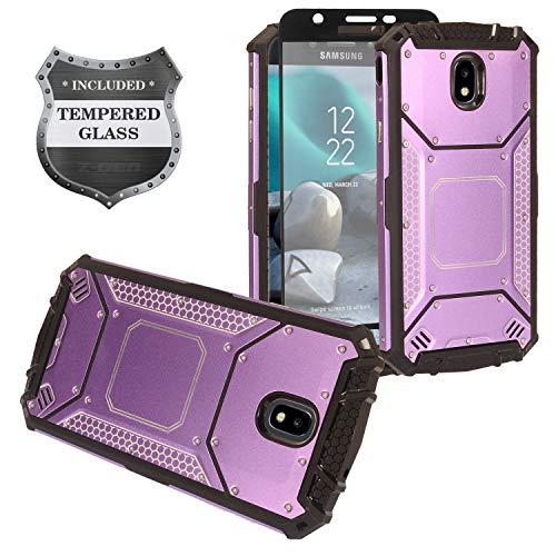 Z-GEN - Galaxy J7 2018, J7 Refine, J7 Star, J7 Crown, J7 Aura, J7 Top, J7 V J7V 2nd Gen J737 - Aluminum Metal Hybrid Phone Case for Samsung + Tempered Glass Screen Protector - ZY1 Purple