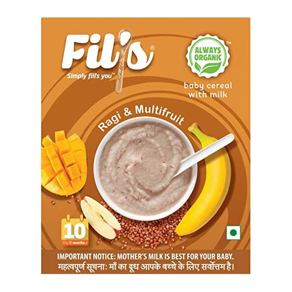 Fil's Organic Baby Cereal with Milk, Ragi and Multi Fruits (10-24 Months +, 300 g)