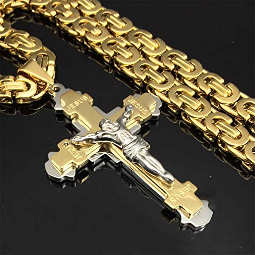 Heavy Crucifix Jesus Cross Necklace | Stainless Steel Christs Pendant | Gold Chain | Men Necklaces Jewelry Gifts