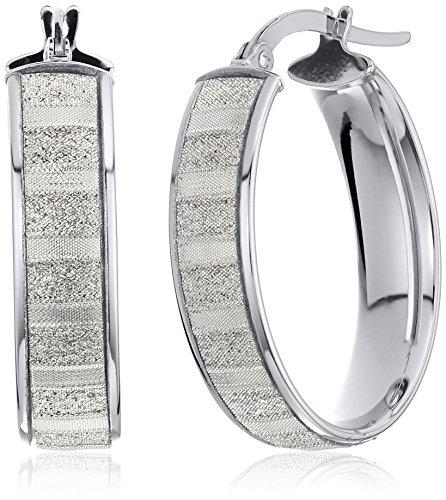 14k White Gold Italian Hoop - 14k White Gold Italian Wide Oval Hoop Earrings with Baguette Style Glitter Hoop Earrings