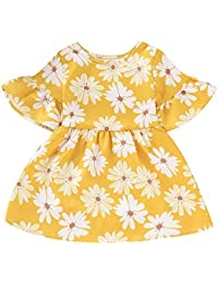 230fbda2a4f Toddler Baby Girl Dress Floral Short Sleeve Casual Sundress Yellow Party  Skirt Outfit