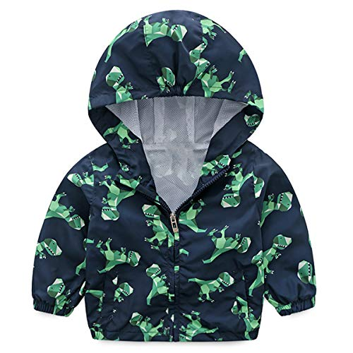 lymanchi Kid Baby Boy Dinosaur Hooded Zip Jacket Coat Windproof Casual Outerwear 756 Navy 3T