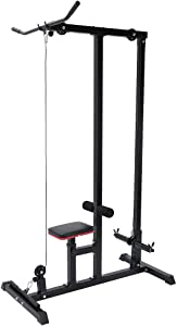 vin Adjustable Strength Training Dip Station Pull Up Bar Weigh Fitness Equipment Heavy-Duty Pull-Down Low-Row Cable Machine,Multi-Function Home Gym Body LAT Low Bar Cable