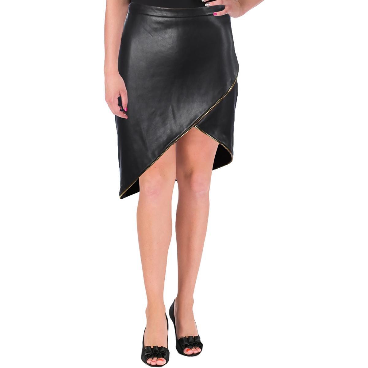 Mason by Michelle Mason Womens Asymmetrical Zipper Asymmetrical Skirt Black 8