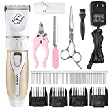 Pedy Dog Clipper Kit - Professional Rechargeable Cordless Pet Grooming Kit - Low Noise Cat Dog Hair Trimmers Dog Shaver with Two Batteries - Scissors and Comb Guides