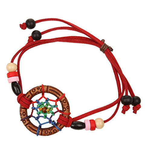Jili Online Vintage Handmade Leather Lovely Charm Dream Catcher Fashion Design Lucky Bracelet Bangle - Red