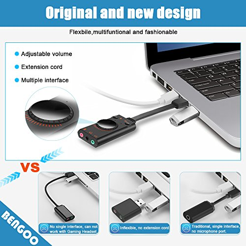 USB Sound Card Adapter BENGOO External Audio Adapter Stereo Sound Card Converter 3.5mm AUX Microphone Jack for Gaming Headset Earphone PS4 Laptop Desktop Windows Mac OS Linux, Plug Play by BENGOO (Image #5)