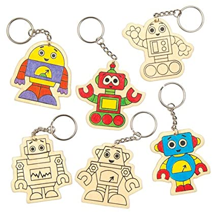 Baker Ross Robot Wooden Keyrings for Children to Design Color-in & Give as a Gift - Creative Craft Set for Kids (Pack of 6)