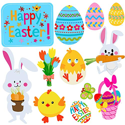 (Supla 12 Pcs Assorted Easter Yard Signs Easter Yard Garden Stakes Bunny Chick Easter Egg Basket Tulip Butterfly Lawn Ornaments Yard Art with 14 Pcs Metal Stakes for Easter Spring Outdoor Decorations)
