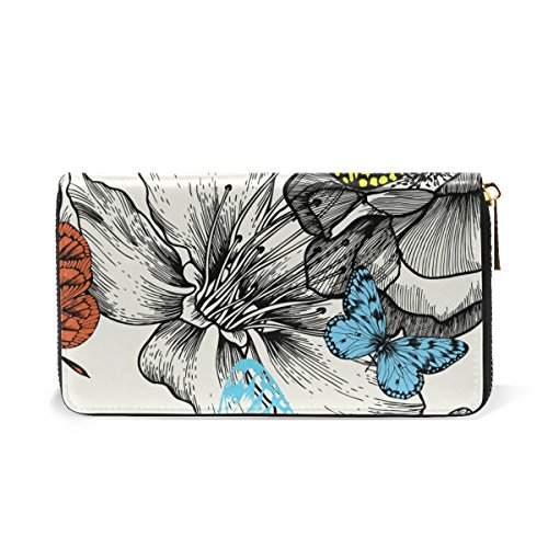 Flying Womens Purses Around And Zip Blooming Wallet TIZORAX Roses Organizer Clutch And Butterfly Handbags XfxtBHw