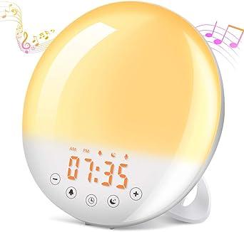 Tageslichtwecker mit Radio Tasmor led Wecker mit Sonnenaufgang Sonnenuntergang Simulation Lichtwecker Wake-up-Licht 30 Heilligkeits Schlummerfunktion und 8 nat/ürlichen Kl/ängen/…