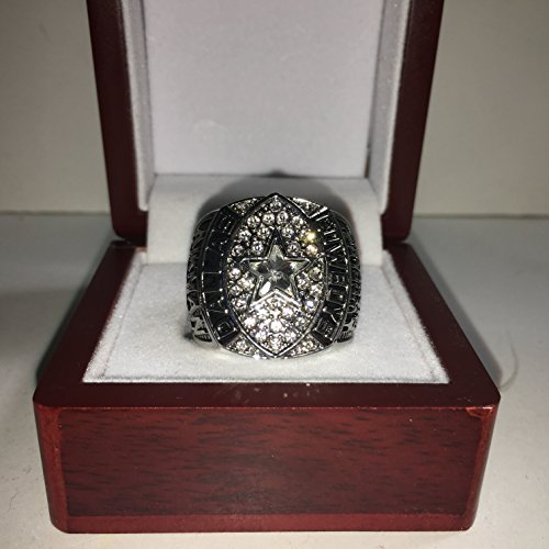 1992 Troy Aikman Dallas Cowboys High Quality Replica Super Bowl XXVII Ring-Silver Colored & COLORED LEAGUE LOGO Size 10.5