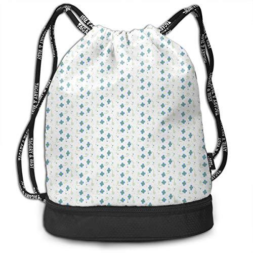 (Polka Dot Petals Blue Drawstring Backpack Sports Athletic Gym Cinch Sack String Storage Bags for Hiking Travel Beach)