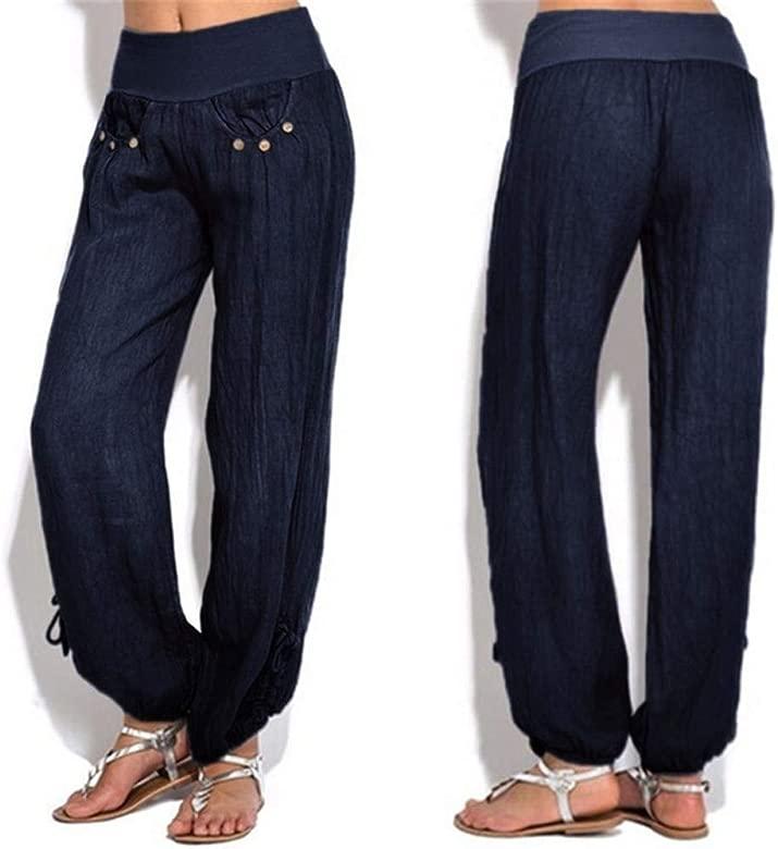 Modaworld Pantalones anchos mujer pantalon palazzo Botones sólidos de las mujeres pantalones casuales Algodón y lino Pantalones Deportivas De yoga ...