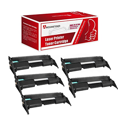 Awesometoner Compatible 5 Pack FO47DR Drum Cartridge For Sharp FO4650, FO4700, FO4970, FO5550, FO5700, FO5800, FO6700 High Yield 20000 Pages (Fo47dr Drum Compatible)