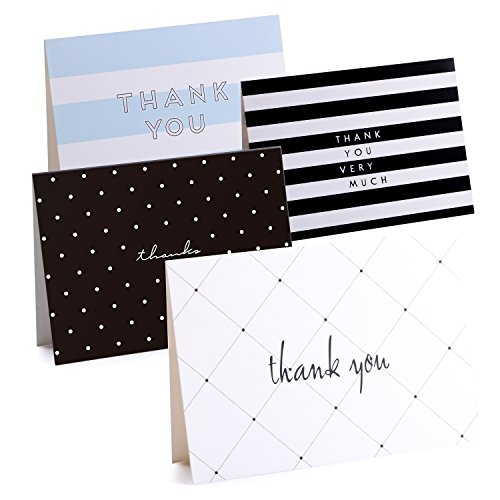 50 Thank You Cards Bulk - Thank You Notes with 4 Designs - Blank Note Cards with Self Seal Envelopes - Perfect for Business, Wedding, Gift Cards, Graduation, Baby Shower, (White Vellum Business Card)