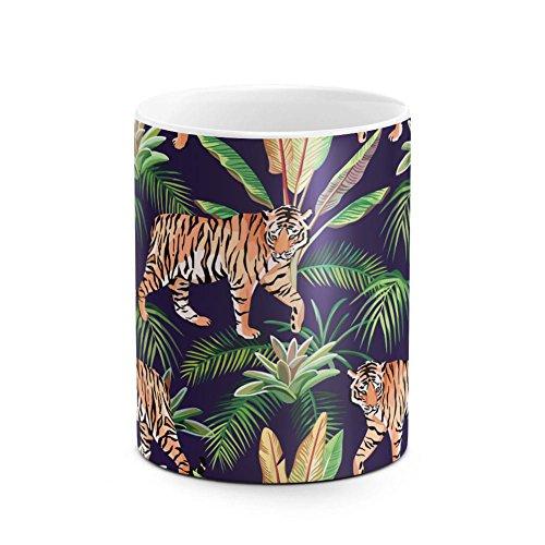 - Tiger Tropical Flowers Aloha Hawaii Exotic Jungle Pattern Print Best Birthday or Anniversary Gifts Unique Present Idea Funny Christmas Gift Idea White Heat Resistant Ceramic Tea Coffee Mug - 11oz