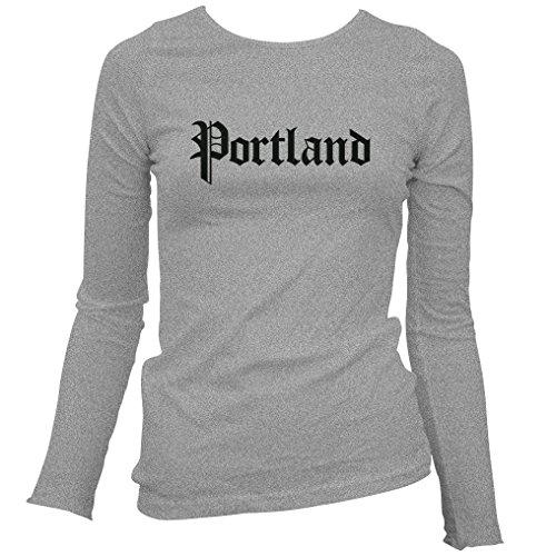 Smash Transit Women's Portland Gothic Long Sleeve T-Shirt - Heather Gray, (Maine Womens Long Sleeve)