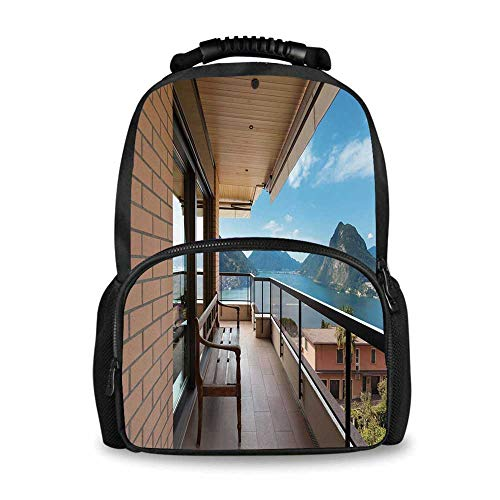 Lugano Messenger - Modern Decor Adorable School Bag,Lugano Lake Panoramic View From Terrace of Apartment Mountains and Sea for Boys,12