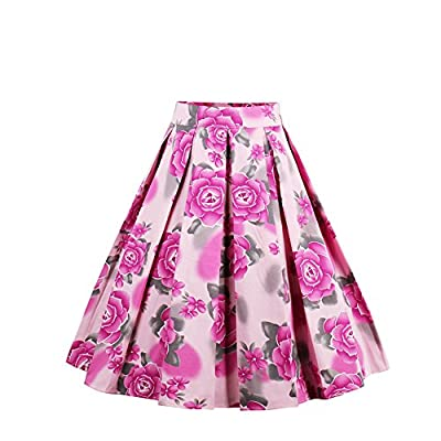 YUMDO Pleated Vintage Swing Skater Skirts Floral Print A-line High Waist Midi for Women
