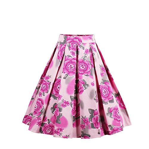 e Skater Swing Skirts Floral Print A-Line High Waist Pink L (Pink Long Sleeve Skirt)