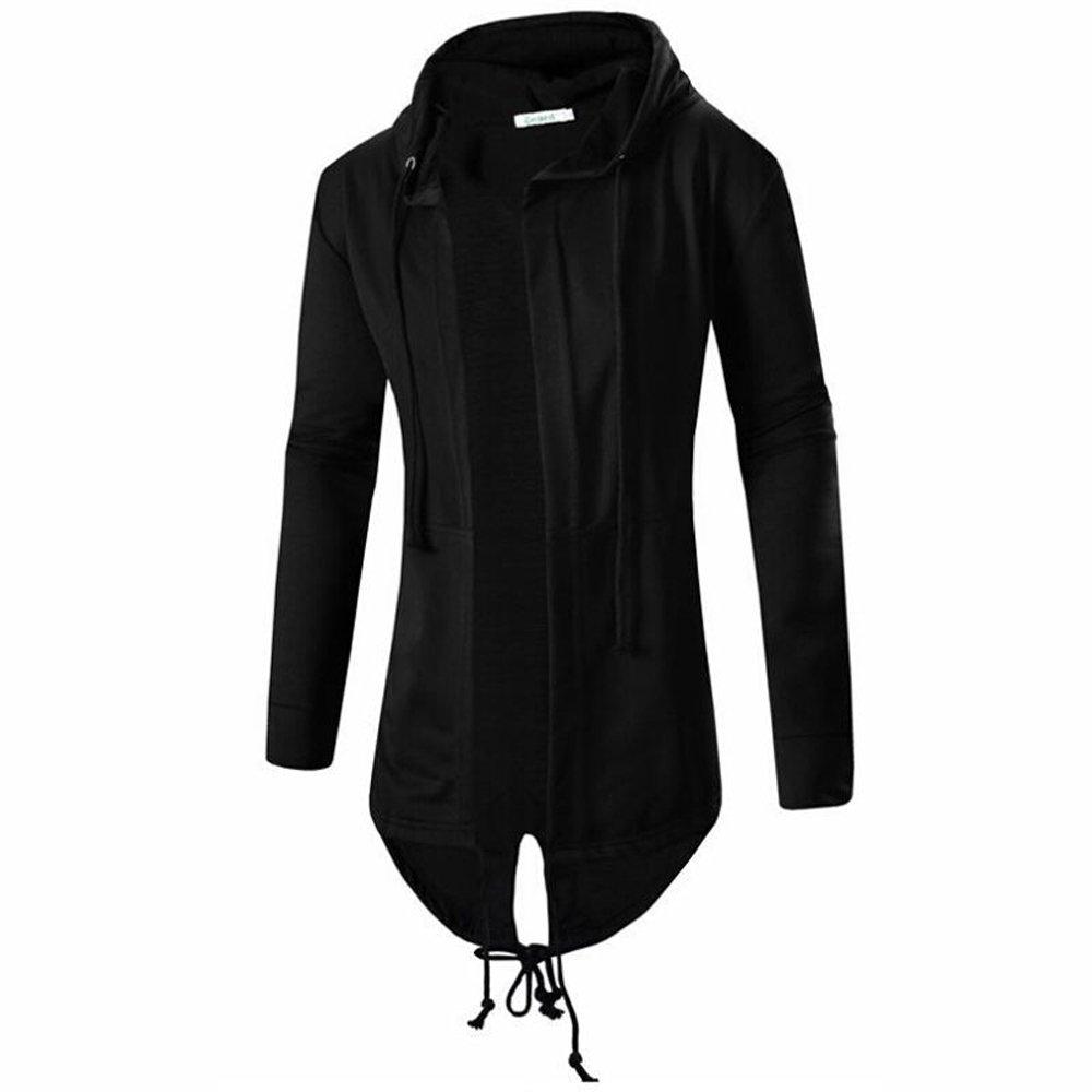 ivivian Mens Cardigan Hooded Long Cloak Cape Coat Cosplay Loose Casual Slim Fit Jacket (Black, M)