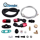 #9: ESPEEDER Turbo Charger Oil Drain Return Line and Feed Line Fitting Complete Kit for T3 T4 T3/T4 T70 T66 TO4E(Black)
