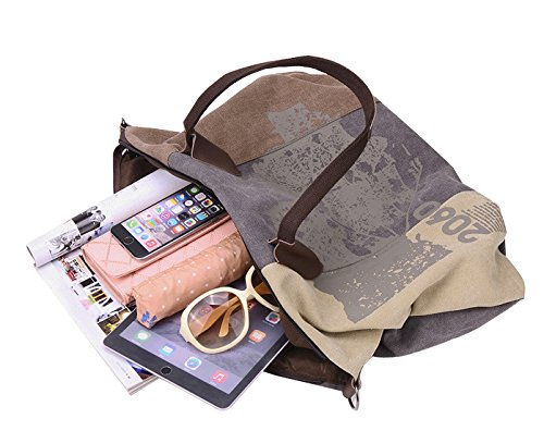 Shoulder Tote Canvas Travel Bag Women's Brown Shopping Casual Bag Oversize 44cmx32cm Hobo wBqpOAI