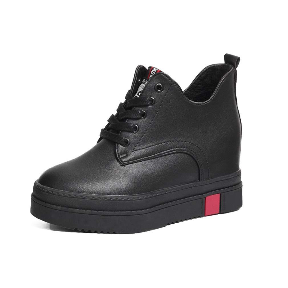 YAN Damenmode Schuhe Winter Dicke Unterseite unsichtbar erhöhen Schuhe Lederschuhe Comfort Loafers tägliche Wanderschuhe