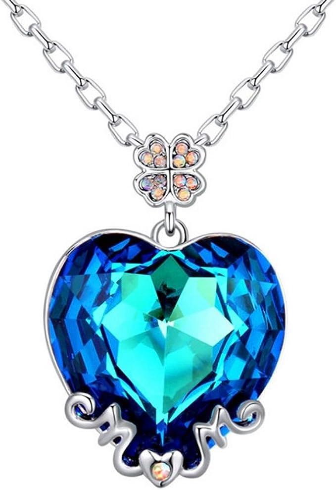Kette Kristall Halskette HEART HERZ Anhänger Schmuck LILA exklusiv Geschenk