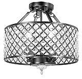 Diamond Life 4-light Antique Black Round Metal Shade Crystal Chandelier Semi-Flush Mount Ceiling Fixture For Sale