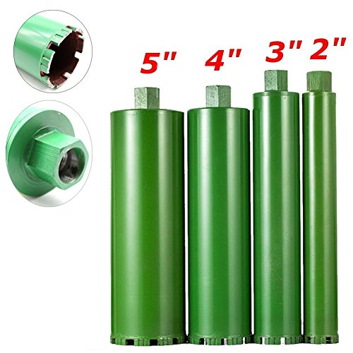 3' Pipe Cutter - 4 pcs 2'' 3'' 4'' 5'' Combo Wet Diamond Core Drill Bit for Concrete/Granite/Marble/cured concrete/asphalt Hole Saw (Premium Green Series)