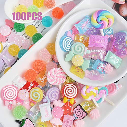 Charms Cute Set, 100pcs Charms for Slime Assorted Fruits Candy Sweets Flatback Resin Cabochons for Craft Making, Ornament Scrapbooking DIY Crafts by Sportsvoutdoors -