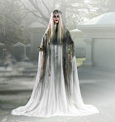 Halloween Animatronics Companies (Lifesize Haunting Bewitching Beauty Gruesome Standing Ghost Girl Bride With Flashing Red Eyes Spooky Scary Halloween Prop)