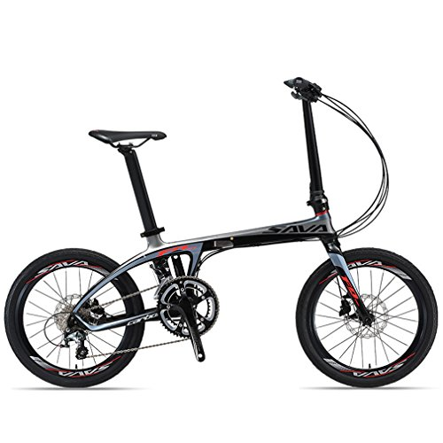 "SAVADECK 20"" Carbon Fiber Frame Folding Bicycle Lightweight 20 Speed Shimano 4700 System Disc Brake Foldable Bike (Black Grey)"