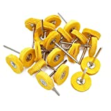 Yasumai Yellow Muslin Polishing Buffing Wheel Buffs Set Fits Dremel Rotary Tools 2.35mm Shank 20 Pieces