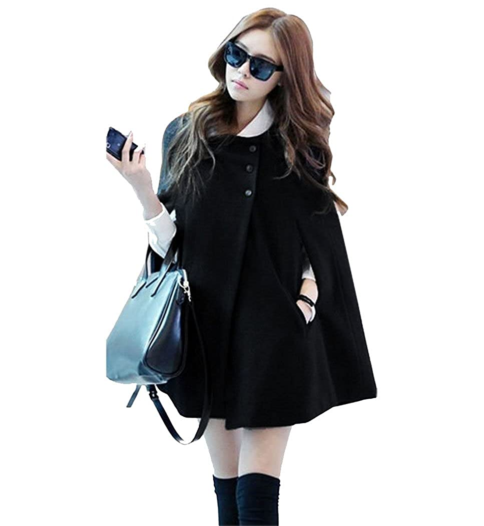 SFY Korea Women Charming Winter Casual Cloak Coat Cape Poncho Wool Warm Jacket SoForYou