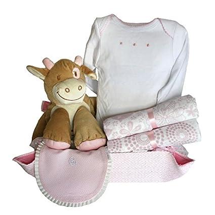Canastilla bebé - Cuki vaca Mayca rosa - cesta regalo recién nacido ...