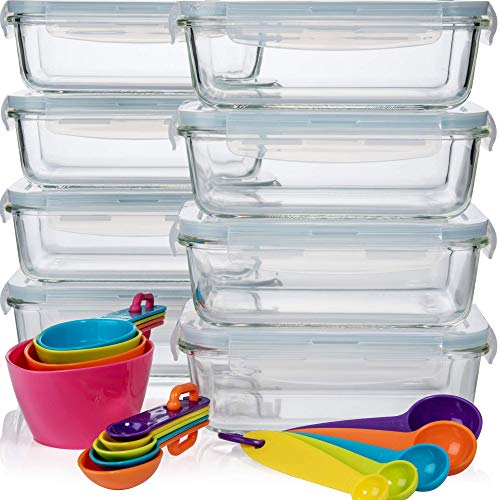 (Razab 16 Pc 30 oz (8 Container set) Glass Food Storage Containers w/Airtight Lids - FREE 14 Measuring Cups/Spoons ($12 value) Microwave/Oven/Freezer & Dishwasher Safe - BPA/PVC Free - For Meal Prep)