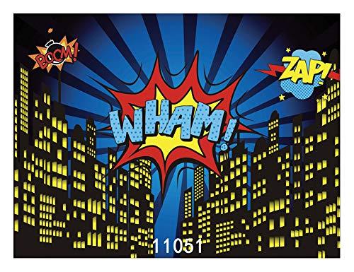 WOLADA 8x6フィート スーパーヒーロー 背景幕 写真 ベビーシャワー 写真背景 誕生日写真背景 スーパーヒーロー パーティー デコレーション 背景幕 フォンド スタジオ小道具 11051   B07MPBKDKF
