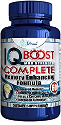 Island\'s Miracle Ginkgo Biloba Nootropics Complete Brain Function Booster with Huperzine A, Vinpocetine DMAE Bacopin Support Memory, Mental Clarity, Reduce Stress and anxiety Plus Increase Focus