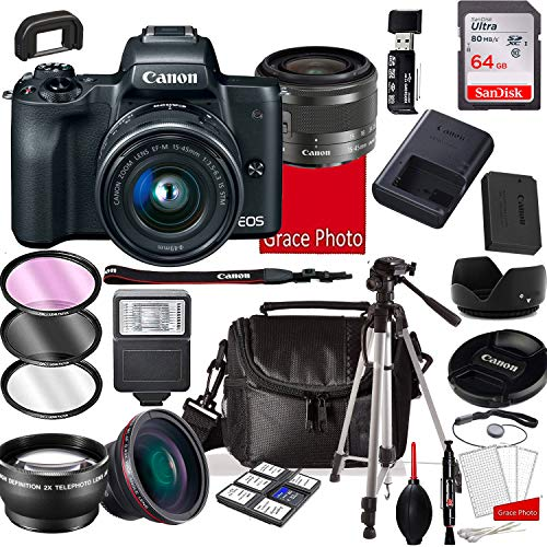 Canon EOS M50 Mirrorless Digital Camera with 15-45mm Lens, 64GB Memory,Case, Tripod and More (28pc Bundle)