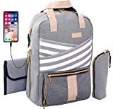 Diaper Bag Backpack Cute Multi-Function Large Capacity Diaper Backpack for Mom, Women, Stylish Breast Pump Backpack, Pumping Bag for Work, Fashion Maternity Bag, USB Charging Port